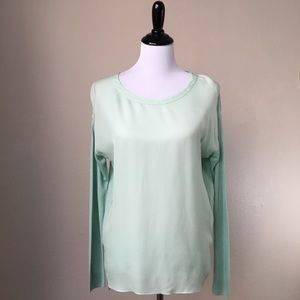 Vince Silk panel blouse Top Size Small Mint Green